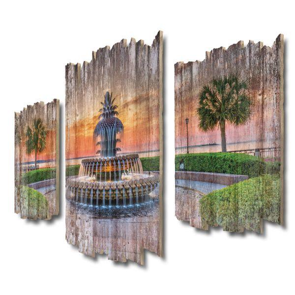 Pineapple Fountain Shabby chic 3-Teiler Wandbild aus Massiv-Holz