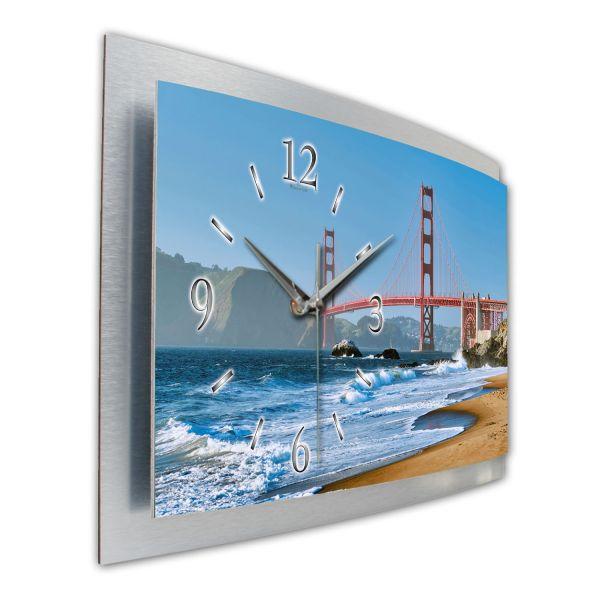 """3D Wanduhr """"Golden Gate Bridge"""" aus gebürstetem Aluminium mit leisem Funk- oder Quarzuhrwerk"""