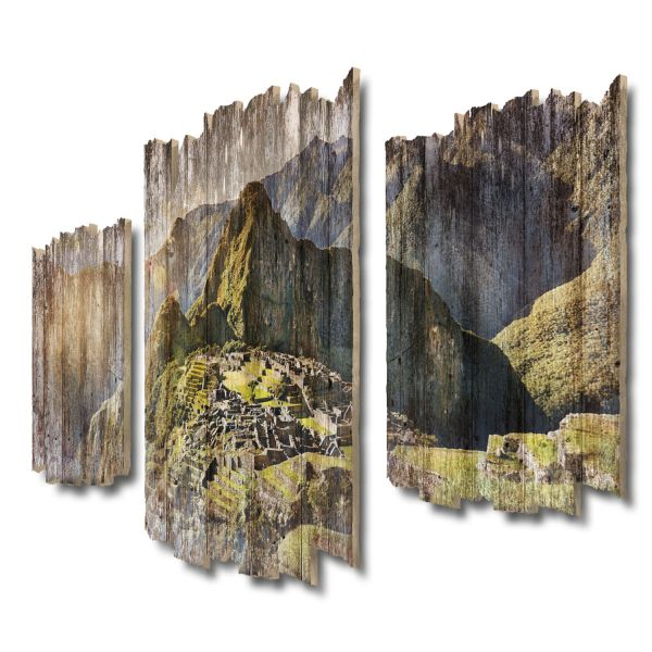 Machu Picchu Shabby chic 3-Teiler Wandbild aus Massiv-Holz