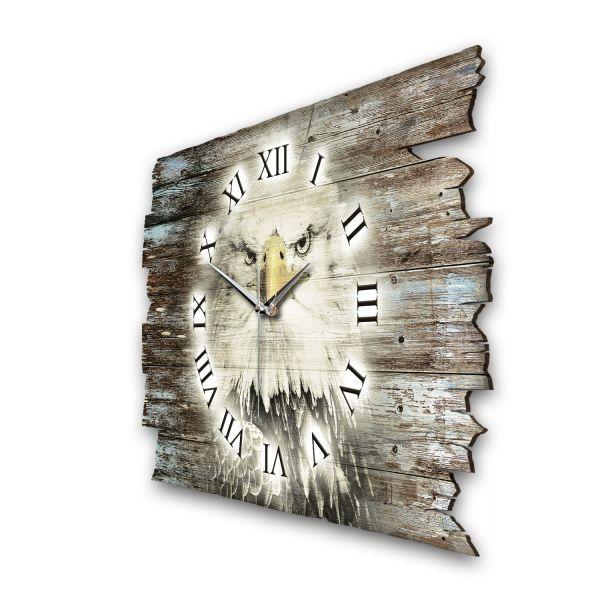 """Designer Funk-Wanduhr """"Weißkopfadler"""" aus Naturholz mit leisem Funk- oder Quarzuhrwerk"""