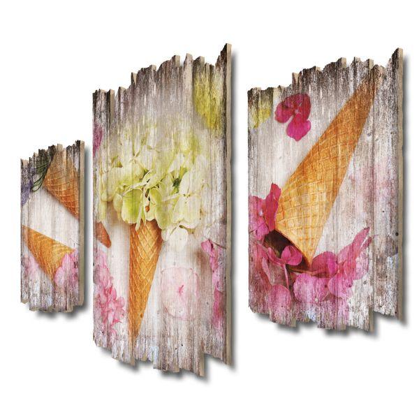 Blumen-Eis Shabby chic 3-Teiler Wandbild aus Massiv-Holz
