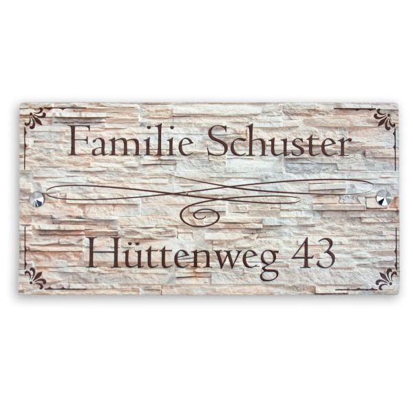 """Hausnummerschild """"Verschlungene Linie"""" aus Naturschiefer"""