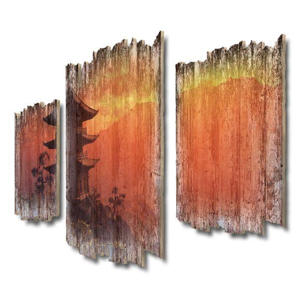 Pagode im Abendlicht Shabby chic 3-Teiler Wandbild aus Massiv-Holz