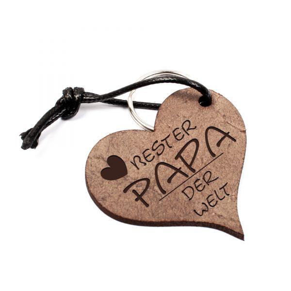 Schlüsselanhänger Herz aus Echtleder mit Gravur im Used Look | bester Papa der Welt