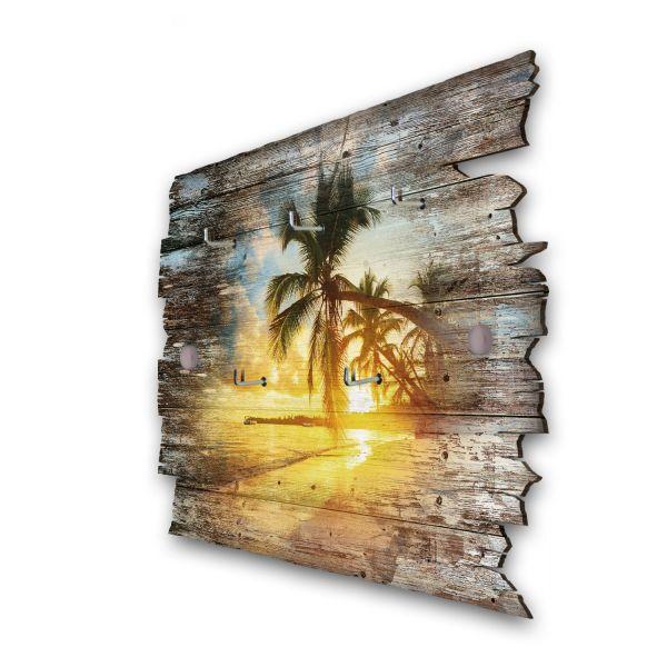 Abendlicher Palmenstrand Schlüsselbrett mit 5 Haken im Shabby Style aus Holz