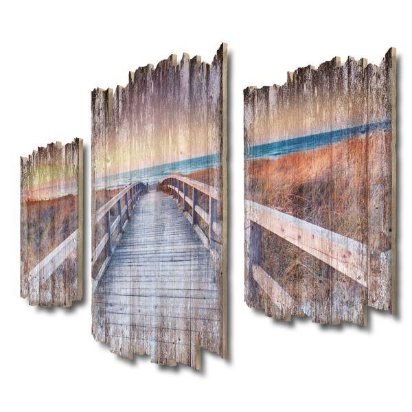 Steg zum Strand Shabby chic 3-Teiler Wandbild aus Massiv-Holz