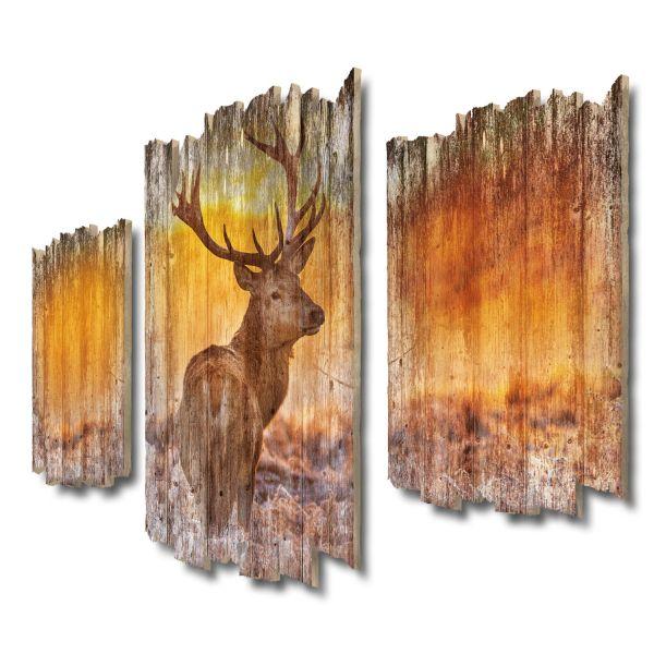 Hirsch im Morgengrauen Shabby chic 3-Teiler Wandbild aus Massiv-Holz