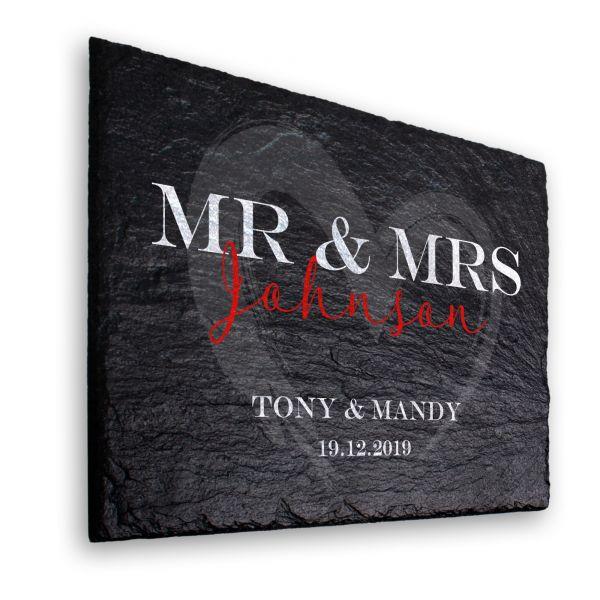 MR & MRS Deko-Schild aus echtem Schiefer mit Ihrem Wunschtext