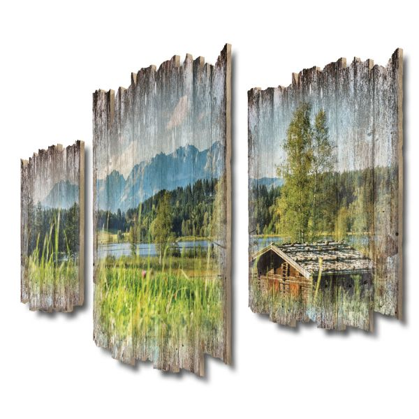 Alpensee-Panorama Shabby chic 3-Teiler Wandbild aus Massiv-Holz
