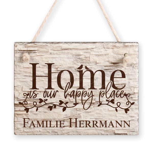 Home | Türschild aus Schiefer mit Ihrem Wunschtext | in Beige oder Schwarz