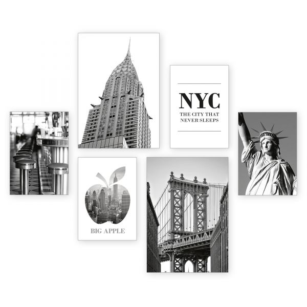 """New York City"" 6-teiliges Poster-Set - optional mit Rahmen - 2 x DIN A3 & 4 x DIN A4"