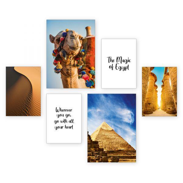 """Ägypten"" 6-teiliges Poster-Set - optional mit Rahmen - 2 x DIN A3 & 4 x DIN A4"