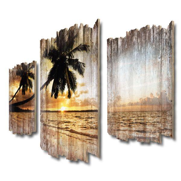 Palmenstrand Shabby chic 3-Teiler Wandbild aus Massiv-Holz