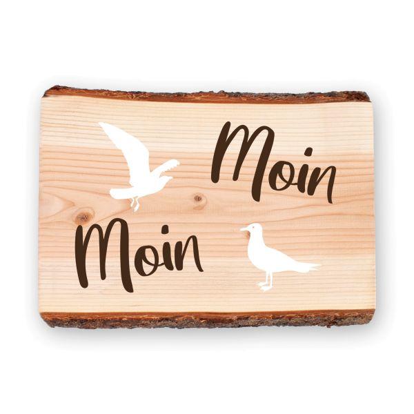 Moin Moin | Holzschild mit dekorativen Motiven | ideale Deko für die Haustür