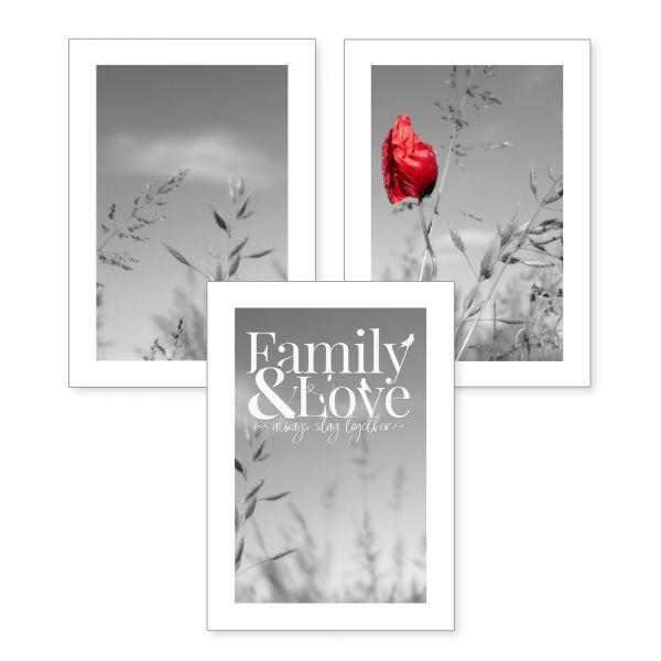 3-teiliges Poster-Set | Family & Love | optional mit Rahmen | DIN A4 oder A3