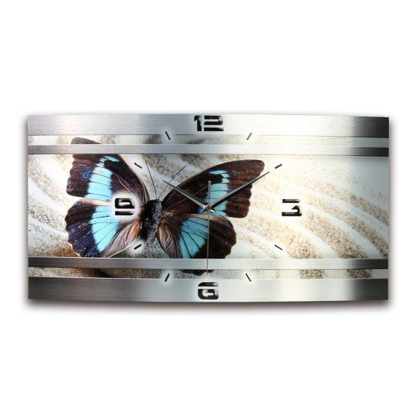 Wanduhr Schmetterling Metallic aus gebürstetem Aluminium mit leisem Funkuhrwerk