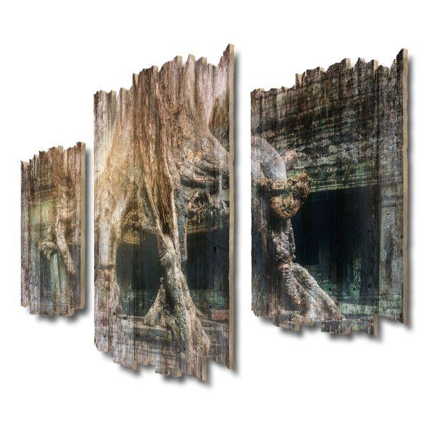 Angkor Wat Baum Shabby chic 3-Teiler Wandbild aus Massiv-Holz