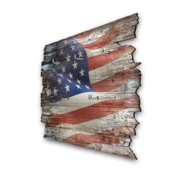 USA Schlüsselbrett mit 5 Haken im Shabby Style aus Holz
