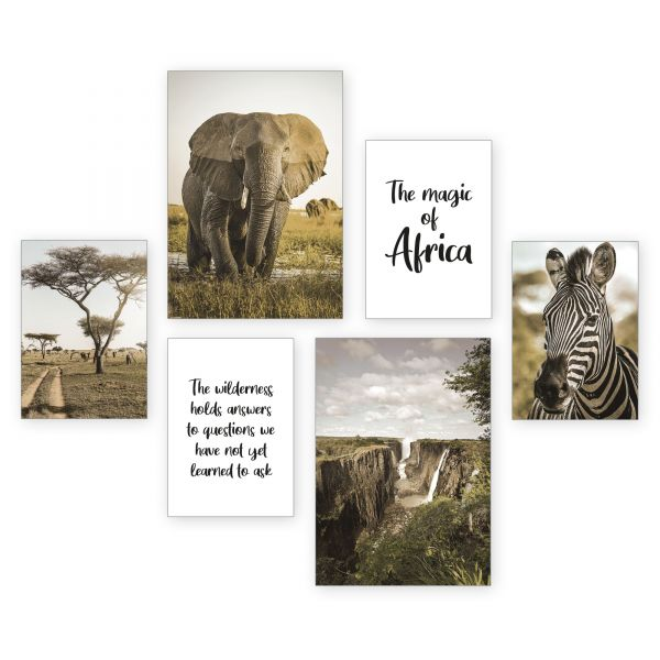 """Afrika"" 6-teiliges Poster-Set - optional mit Rahmen - 2 x DIN A3 & 4 x DIN A4"