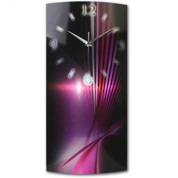 Wanduhr Abstrakt Pink aus gebürstetem Aluminium mit leisem Funkuhrwerk