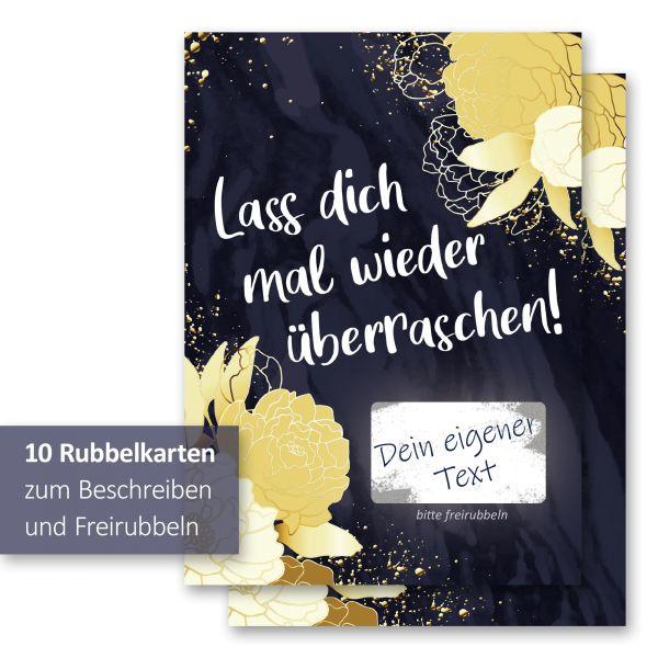 """""""Goldene Blüten"""" Rubbelkarten im 10er Set mit Umschlägen und Rubbelstickern"""