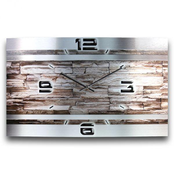 Wanduhr Stein Metallic aus gebürstetem Aluminium mit leisem Funkuhrwerk 50x30cm
