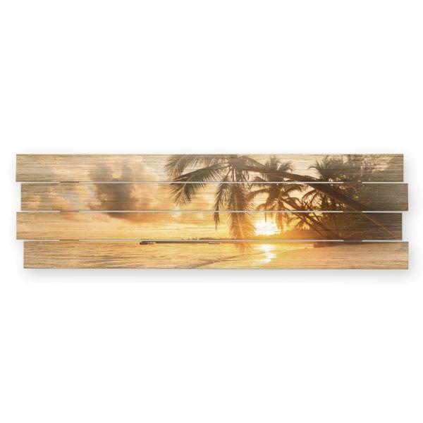 Palmenstrand   Shabby chic Holzbild   ca.100x30cm