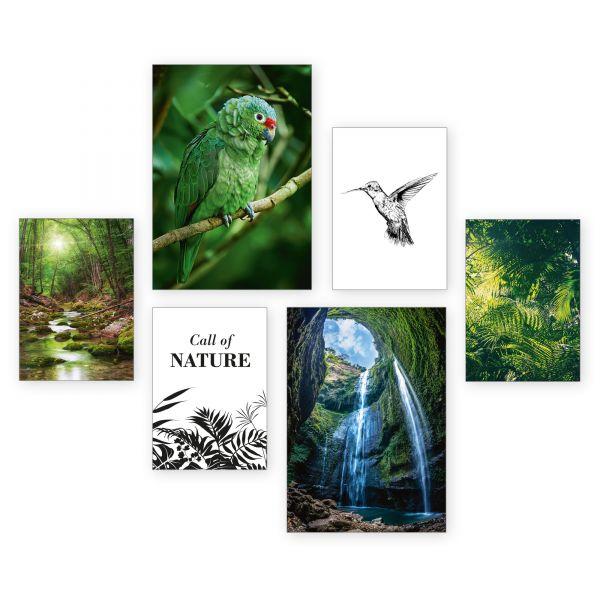 """Call of Nature"" 6-teiliges Poster-Set - optional mit Rahmen - 2 x DIN A3 & 4 x DIN A4"