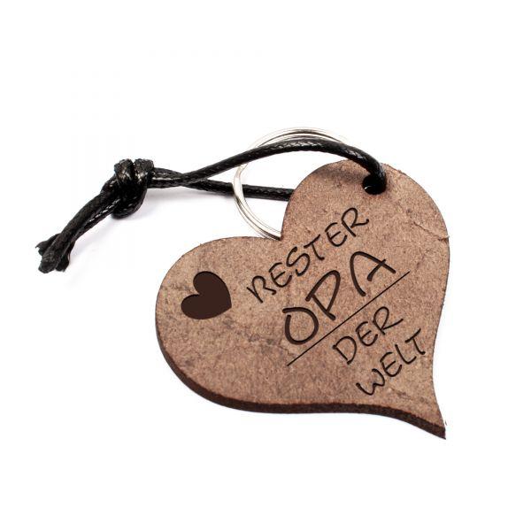 Schlüsselanhänger Herz aus Echtleder mit Gravur im Used Look | bester Opa der Welt