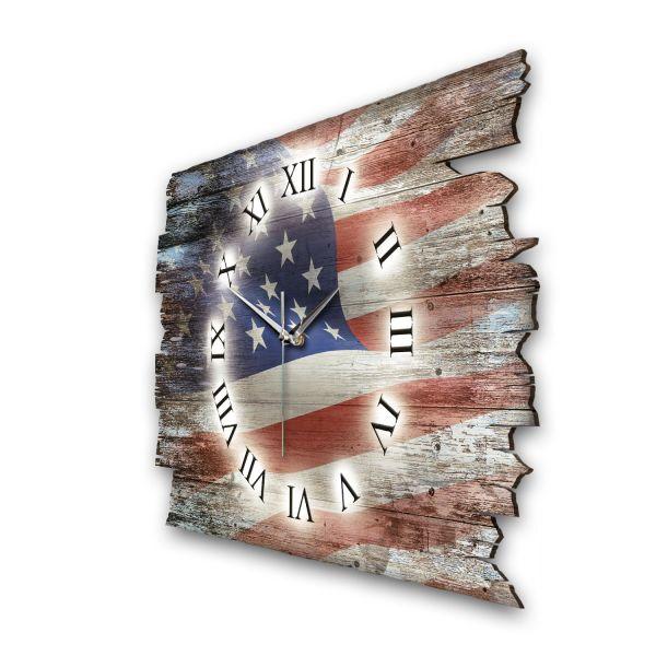 """Designer Funk-Wanduhr """"USA Flagge"""" aus Naturholz mit leisem Funk- oder Quarzuhrwerk"""