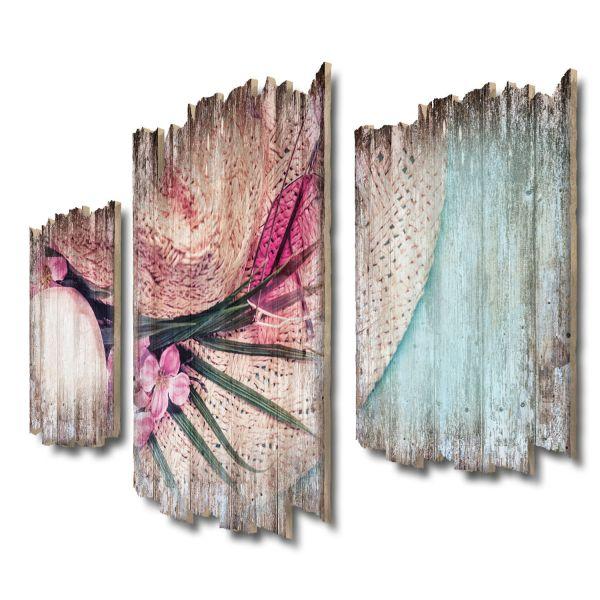 Sommerlaune Shabby chic 3-Teiler Wandbild aus Massiv-Holz