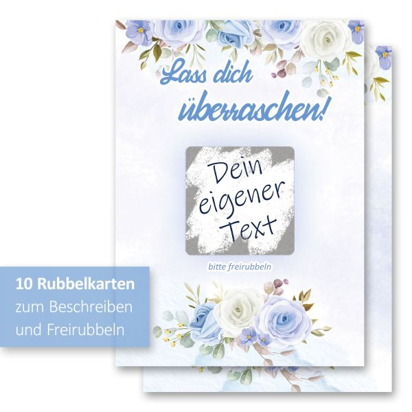 """""""Blaue Rosen"""" Rubbelkarten im 10er Set mit Umschlägen und Rubbelstickern"""