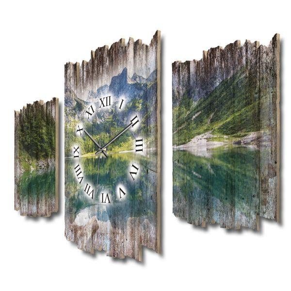 Bergseepanorama Shabby chic Dreiteilige Wanduhr aus MDF mit leisem Funk- oder Quarzuhrwerk