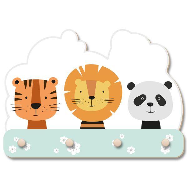 Tiger, Löwe und Panda Wandgarderobe fürs Kinderzimmer im Norwegian Style aus Holz