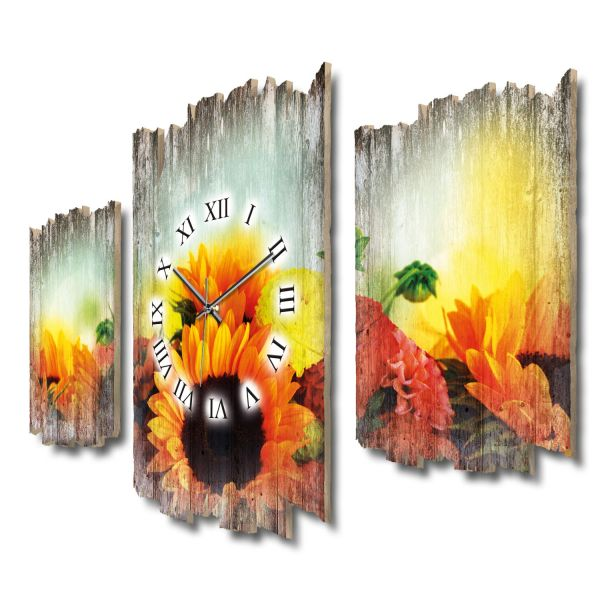 Dahlien und Sonnenblumen Shabby chic Dreiteilige Wanduhr aus MDF mit leisem Funk- oder Quarzuhrwerk