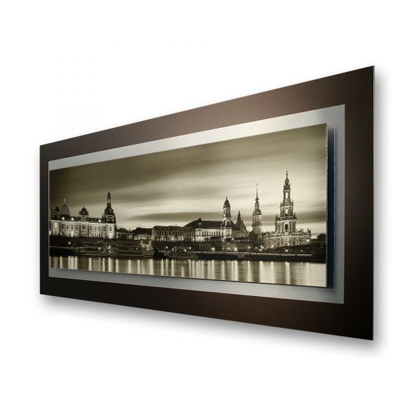 "3D Alu-Wandbild ""Dresden"" aus gebürstetem Aluminium"