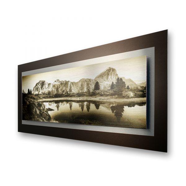 """3D Alu-Wandbild """"Bergsee"""" aus gebürstetem Aluminium"""