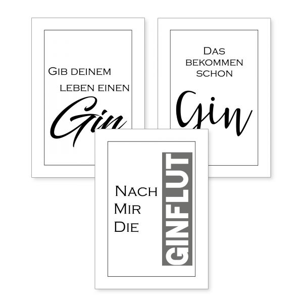 3-teiliges Poster-Set | Gin | optional mit Rahmen | DIN A4 oder A3