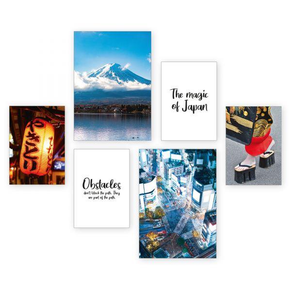 """Japan"" 6-teiliges Poster-Set - optional mit Rahmen - 2 x DIN A3 & 4 x DIN A4"