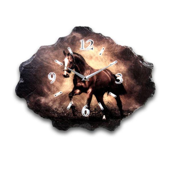 Pferd Designer Funk-Wanduhr aus echtem Naturschiefer mit leisem Funkuhrwerk