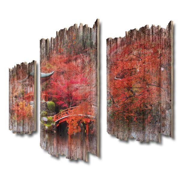 Roter Herbst Shabby chic 3-Teiler Wandbild aus Massiv-Holz