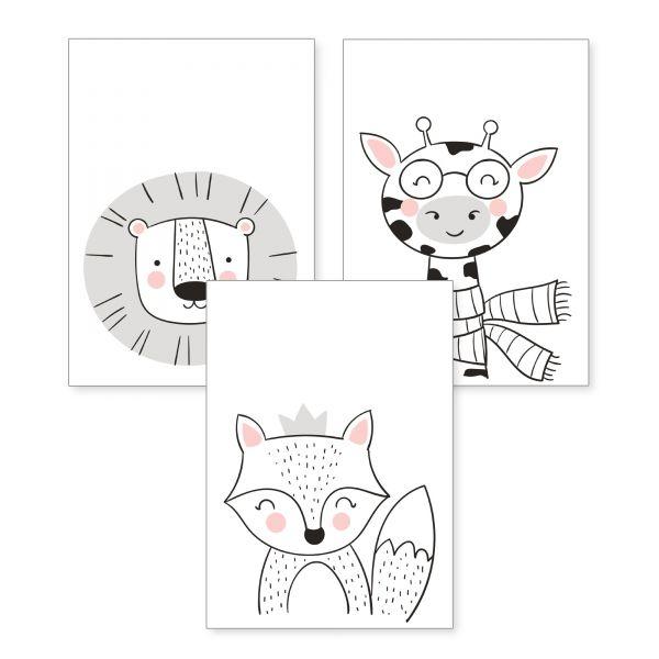 3-teiliges Poster-Set | Fuchs & Co | optional mit Rahmen | DIN A4 oder A3