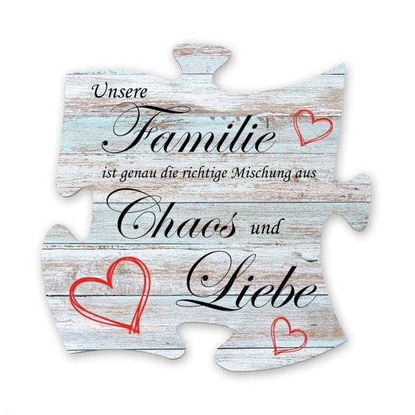 Familie | Deko-Schild Holz-Puzzleteil ca. 30cm x 30cm | Shabby Chic Design
