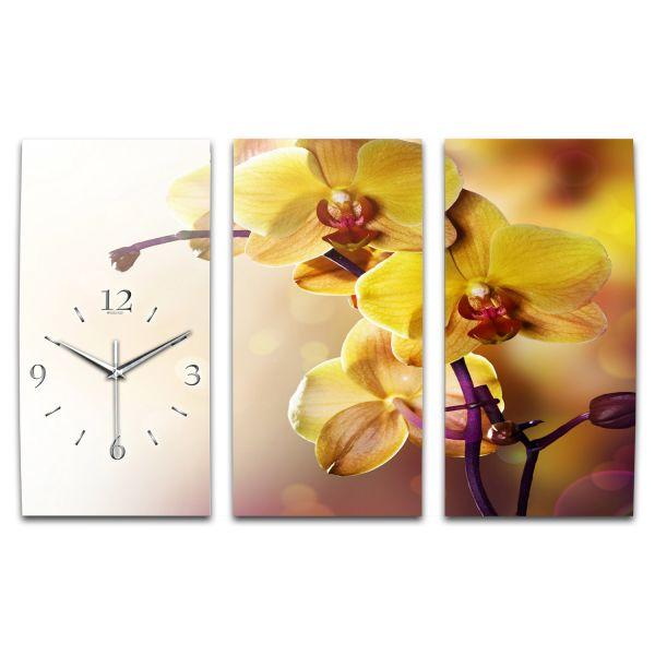 3 Teilige Wanduhr Orchidee XXL aus Aluminium mit leisem Funkuhrwerk