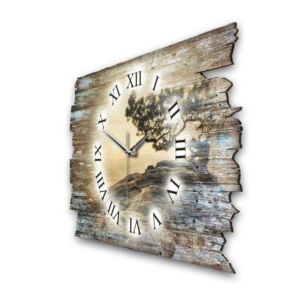 """Designer Funk-Wanduhr """"Einsamer Baum"""" aus Naturholz mit leisem Funk- oder Quarzuhrwerk"""