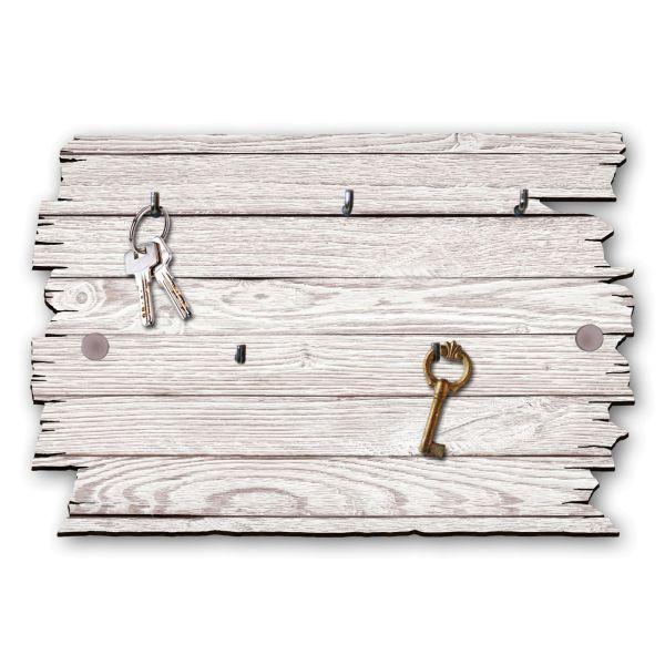 Holzstruktur weiß Schlüsselbrett mit 5 Haken im Shabby Style aus Holz