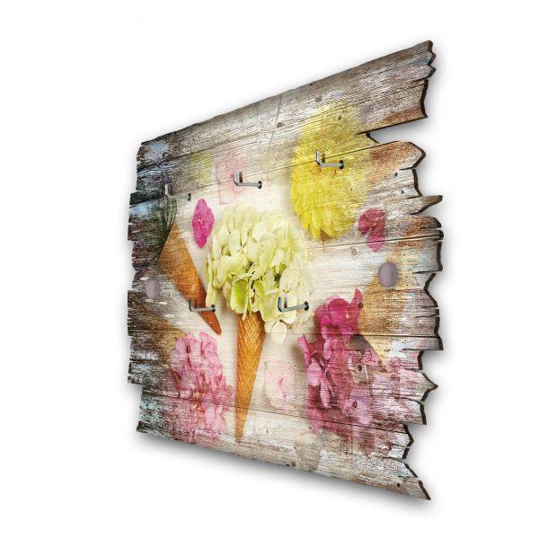 Blumeneis Schlüsselbrett mit 5 Haken im Shabby Style aus Holz