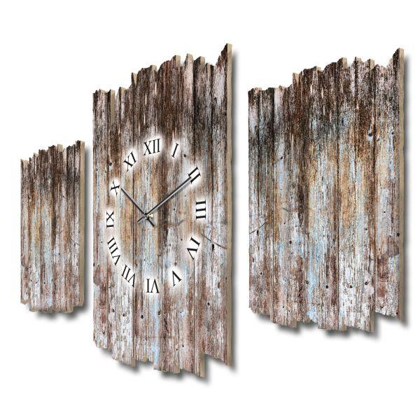 Holzoptik dunkel Shabby chic Dreiteilige Wanduhr aus MDF mit leisem Funk- oder Quarzuhrwerk