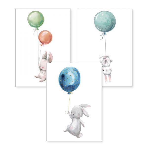 3-teiliges Poster-Set | Hasen mit Luftballons | optional mit Rahmen | DIN A4 oder A3