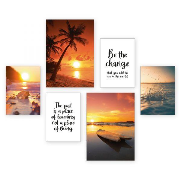 """Strand Sonnenuntergang"" 6-teiliges Poster-Set - optional mit Rahmen - 2 x DIN A3 & 4 x DIN A4"